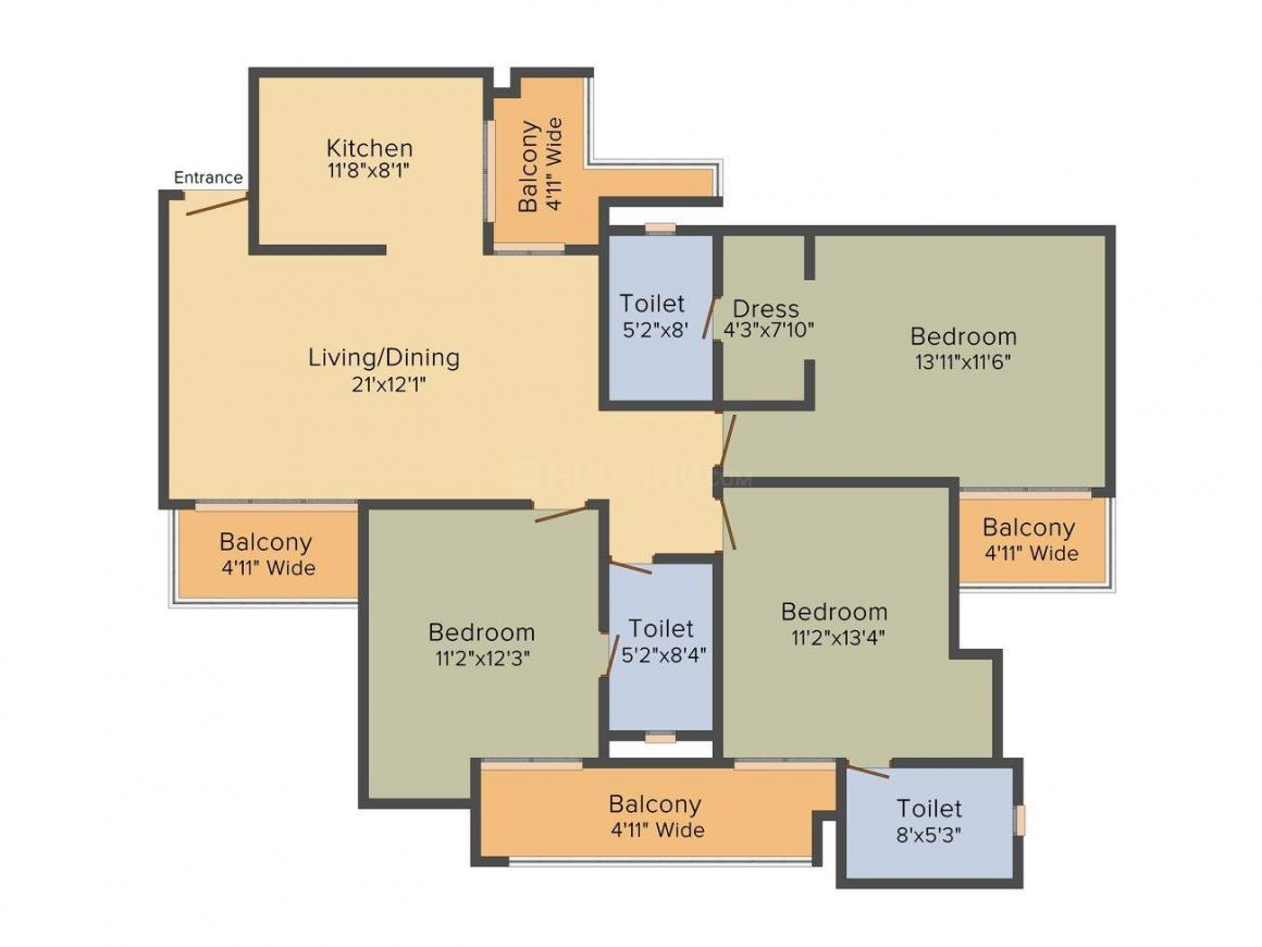 Purvanchal Royal City Floor Plan: 3 BHK Unit with Built up area of 1061 sq.ft 1