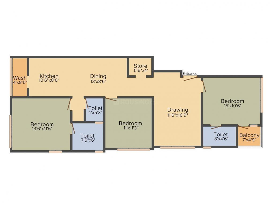 Home Maker Apriprose 2  Floor Plan: 3 BHK Unit with Built up area of 1400 sq.ft 1