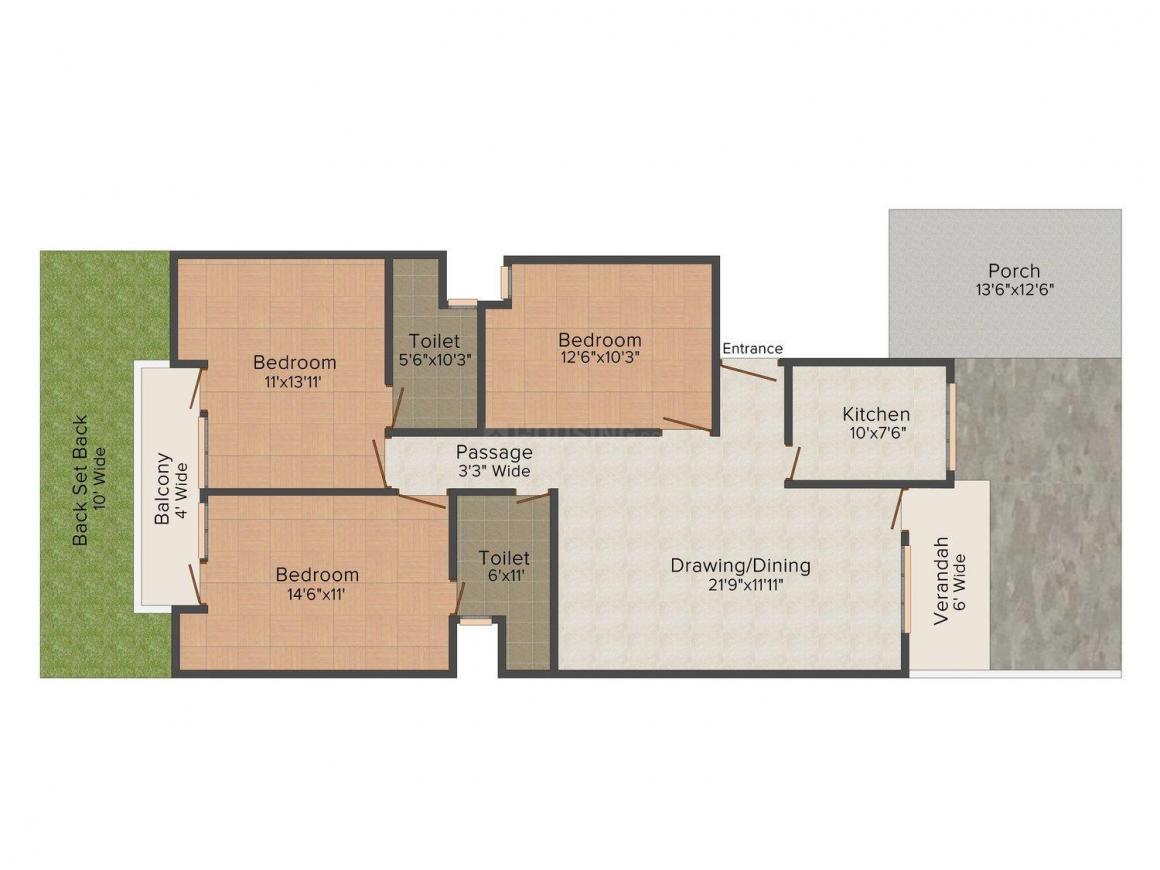 Floor Plan Image of 1550 - 1650 Sq.ft 3 BHK Apartment for buy in Pushpanjali Dwarika