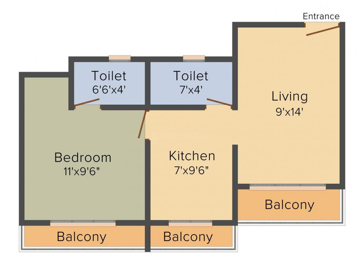 Fresco Lifestyle Chandrika Apartment Floor Plan: 1 BHK Unit with Built up area of 575 sq.ft 1