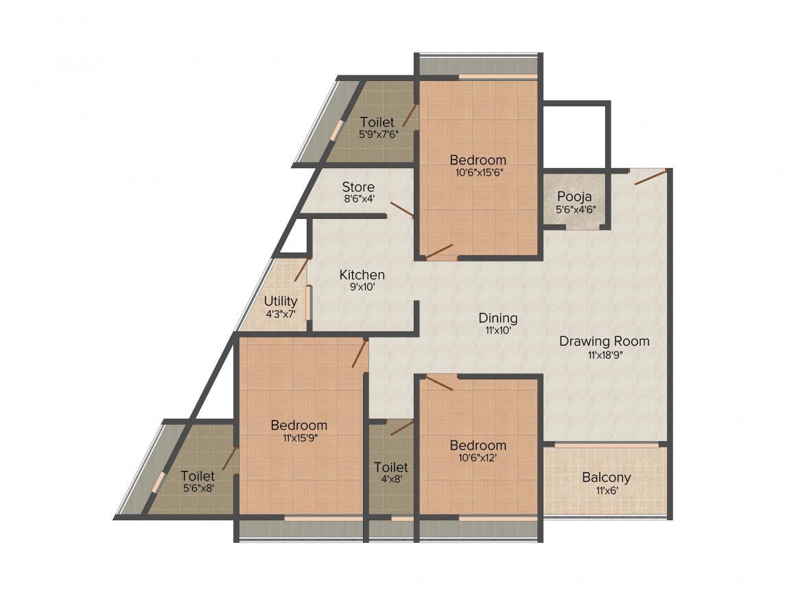Samruddhi Anushri Pratistha Floor Plan: 3 BHK Unit with Built up area of 2268 sq.ft 1