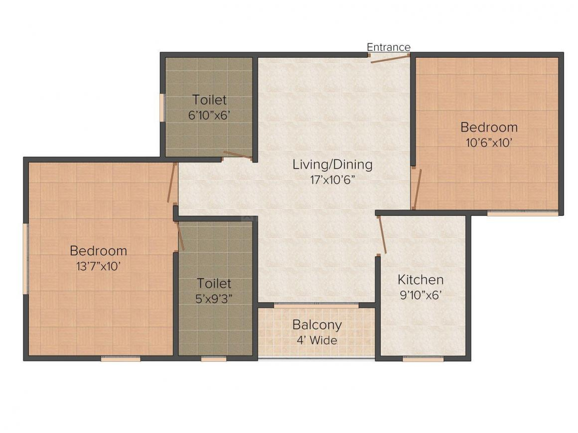 Floor Plan Image of 815.0 - 1485.0 Sq.ft 2 BHK Apartment for buy in Siddha Town Madhyamgram