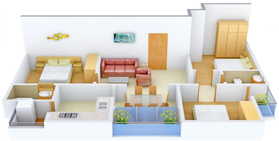Floor Plan Image of 0 - 1080 Sq.ft 3 BHK Independent Floor for buy in Garg Floors - I