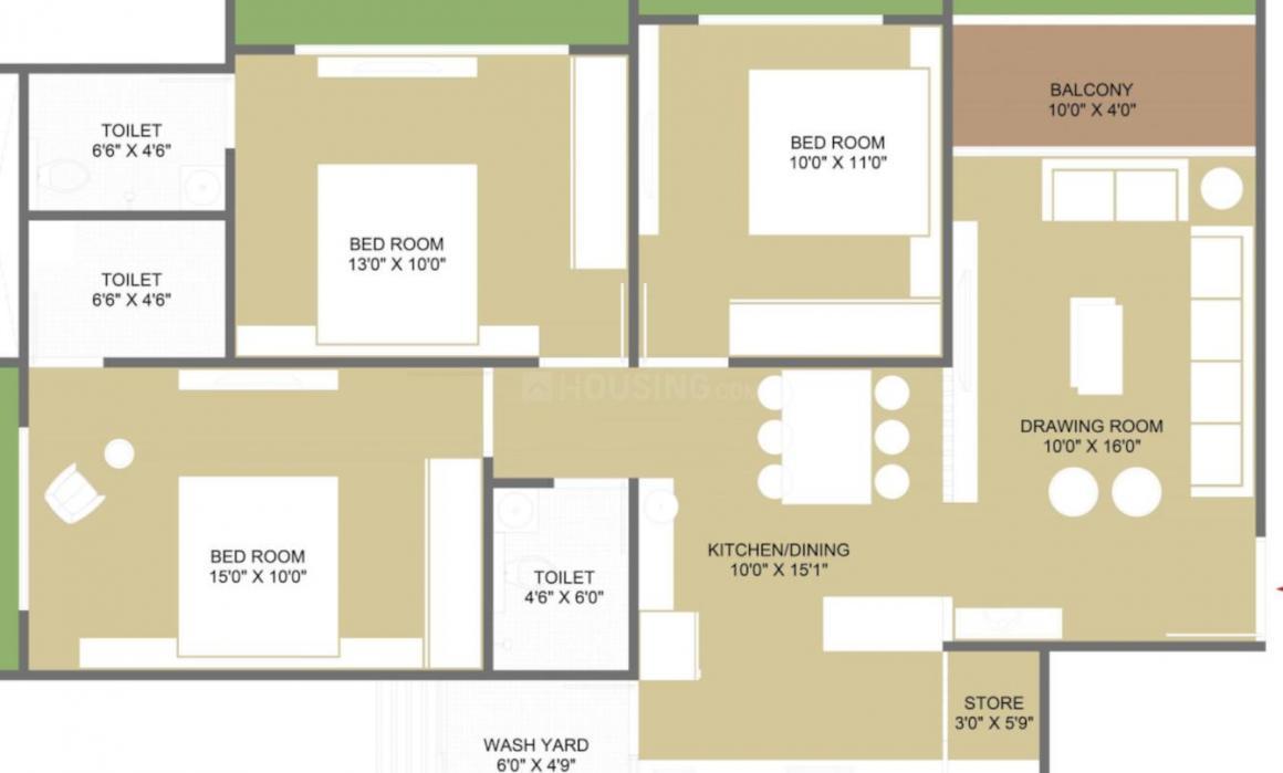 Vivswastik Swastik Vivanta Floor Plan: 3 BHK Unit with Built up area of 849 sq.ft 1