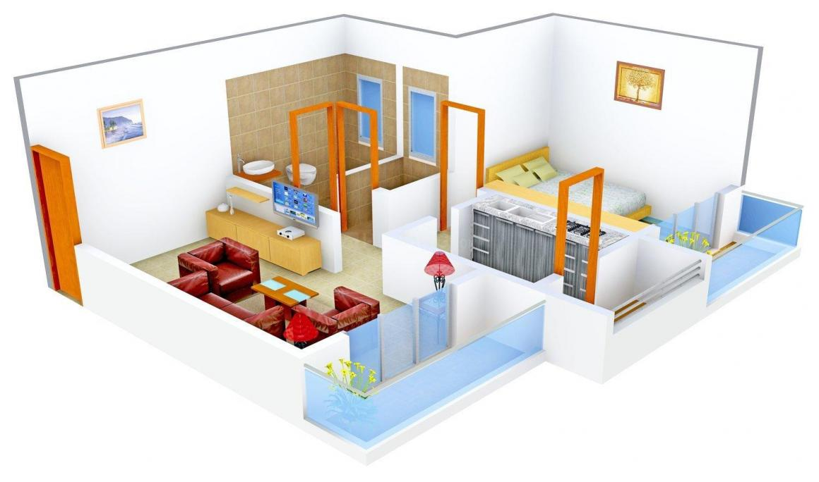 Floor Plan Image of 600 - 895 Sq.ft 1 BHK Apartment for buy in Mangalam Gokul Residency