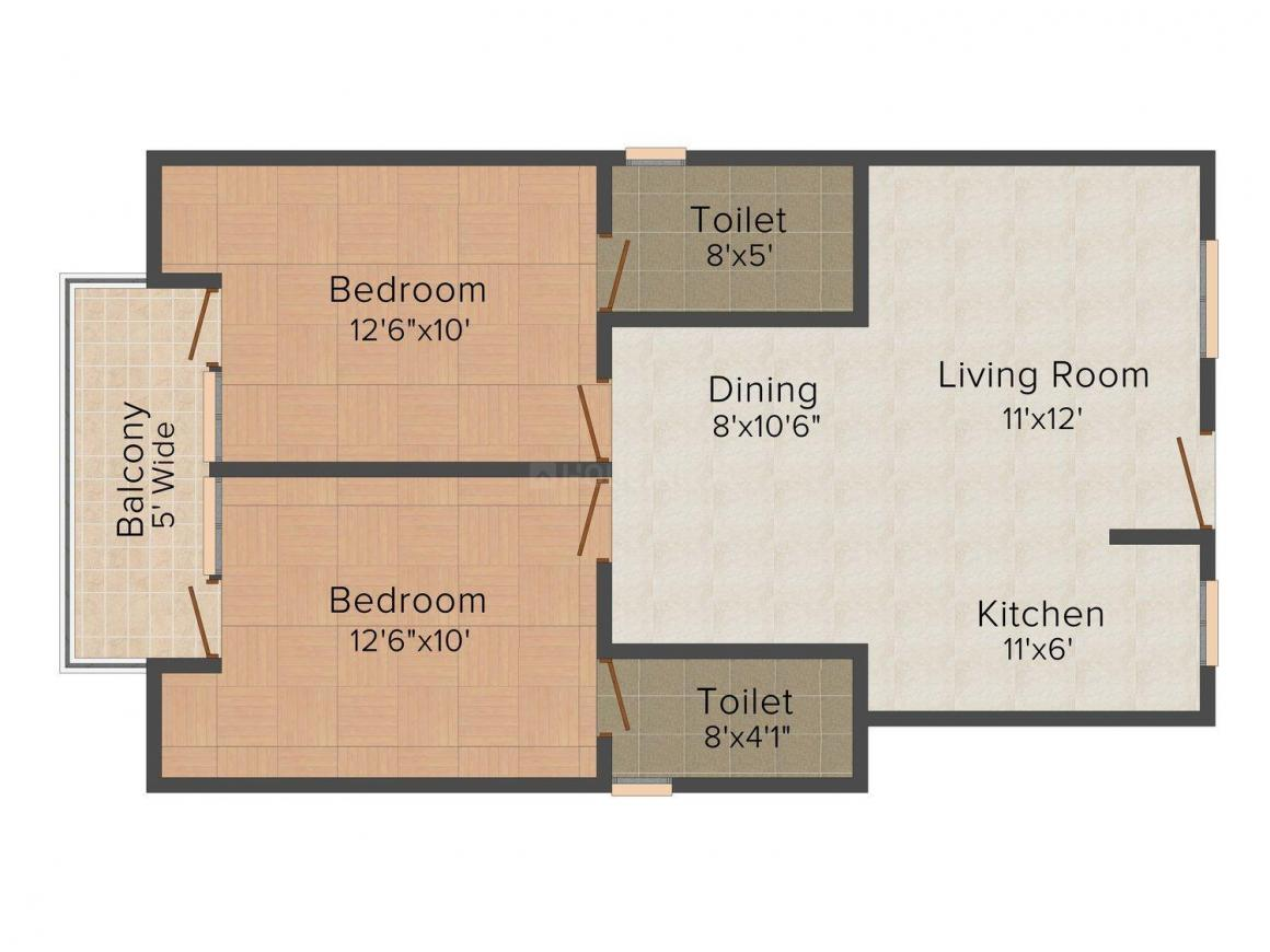 Floor Plan Image of 840 - 1670 Sq.ft 2 BHK Apartment for buy in SVS Apple Residency