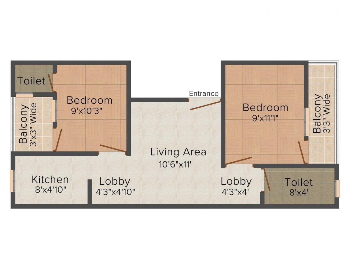 Floor Plan Image of 480.0 - 680.0 Sq.ft 2 BHK Independent Floor for buy in Welcome Homes