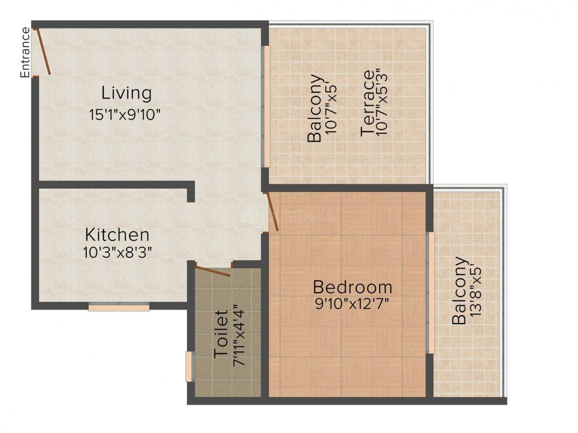 Floor Plan Image of 754.0 - 1378.0 Sq.ft 1 BHK Apartment for buy in Prabhu's Emerald