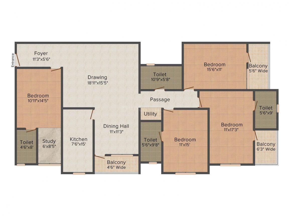 Floor Plan Image of 0 - 2169 Sq.ft 4.5 BHK Apartment for buy in Vijaya Parasnath