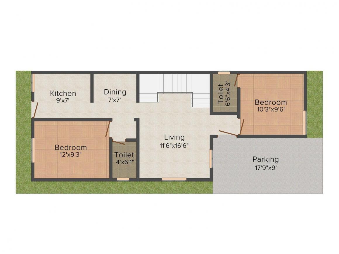 Svastika Diamond Floor Plan: 3 BHK Unit with Built up area of 1275 sq.ft 1