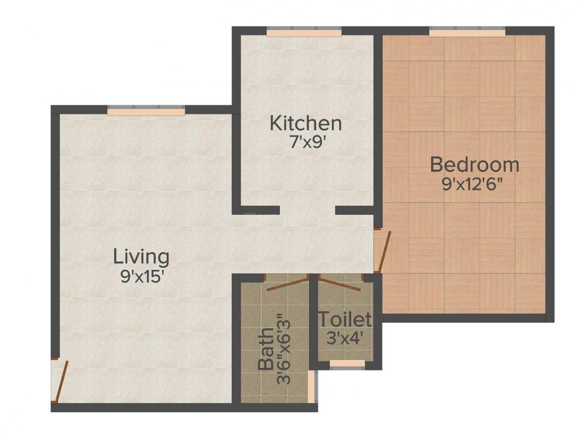 Floor Plan Image of 630 - 750 Sq.ft 1 BHK Apartment for buy in Harmony Enclave