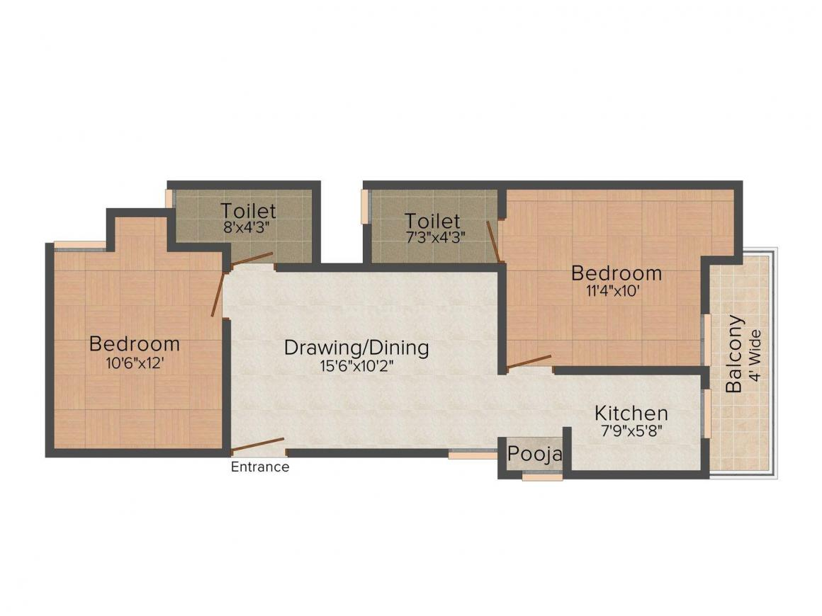 Floor Plan Image of 930.0 - 1035.0 Sq.ft 2 BHK Apartment for buy in R.S.G. Radhey Residency