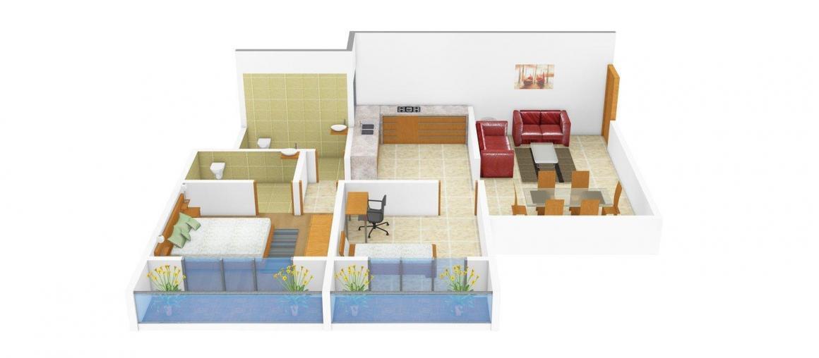 Floor Plan Image of 781.0 - 1019.0 Sq.ft 1 BHK Apartment for buy in Rander Krishna Residency