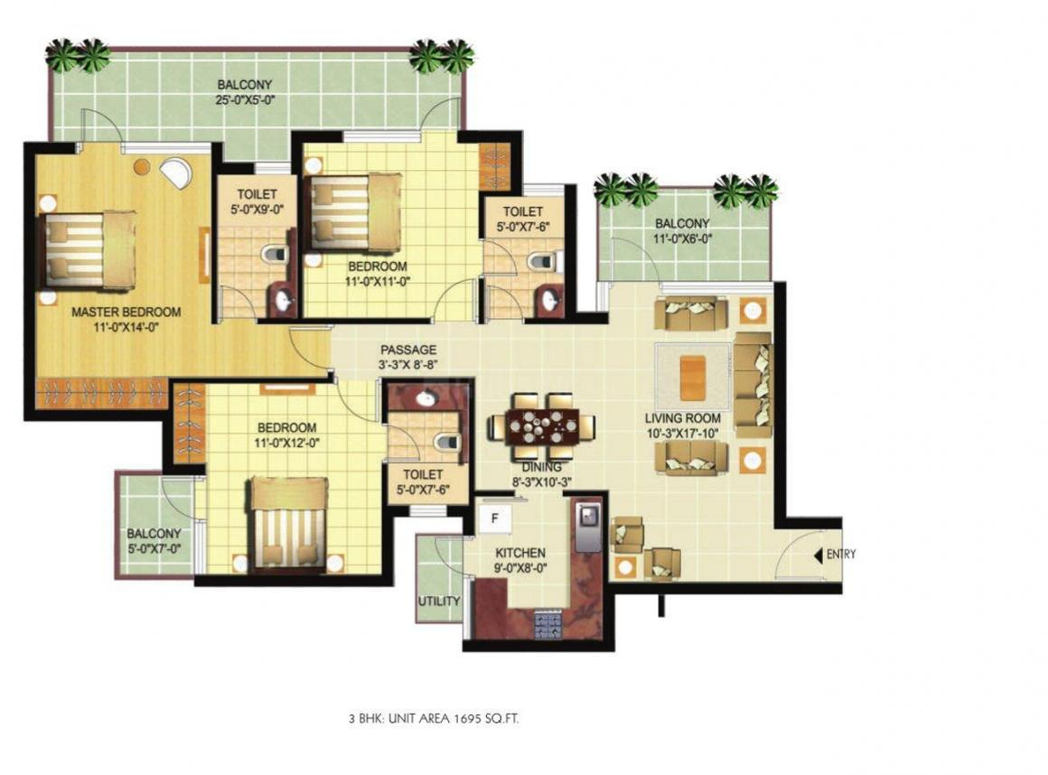 Ramprastha Primera Floor Plan: 3 BHK Unit with Built up area of 1695 sq.ft 1