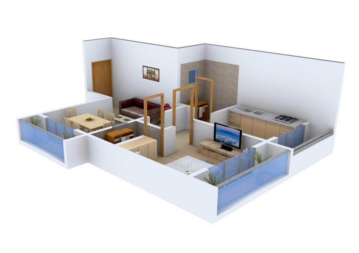 Level Up Constructions Level Up 2nd Avenue Floor Plan: 1 BHK Unit with Built up area of 665 sq.ft 1