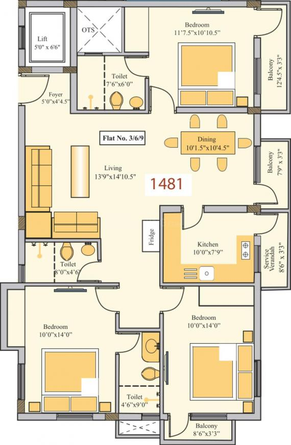 Golden Platinum 61 63 Floor Plan: 3 BHK Unit with Built up area of 1481 sq.ft 1