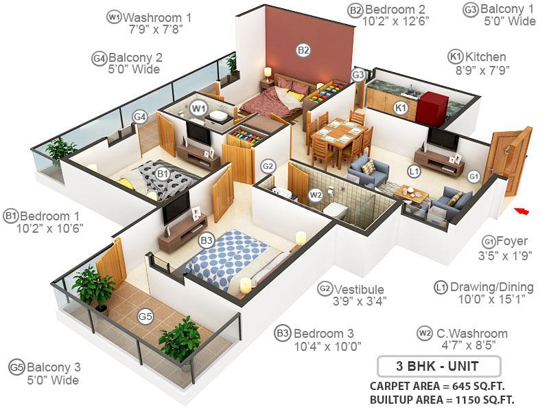 Adore Happy Homes Exclusive Floor Plan: 3 BHK Unit with Built up area of 645 sq.ft 1