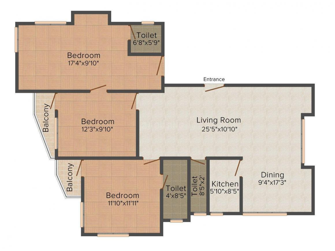 Floor Plan Image of 0 - 1650.0 Sq.ft 3 BHK Apartment for buy in  Keyatala