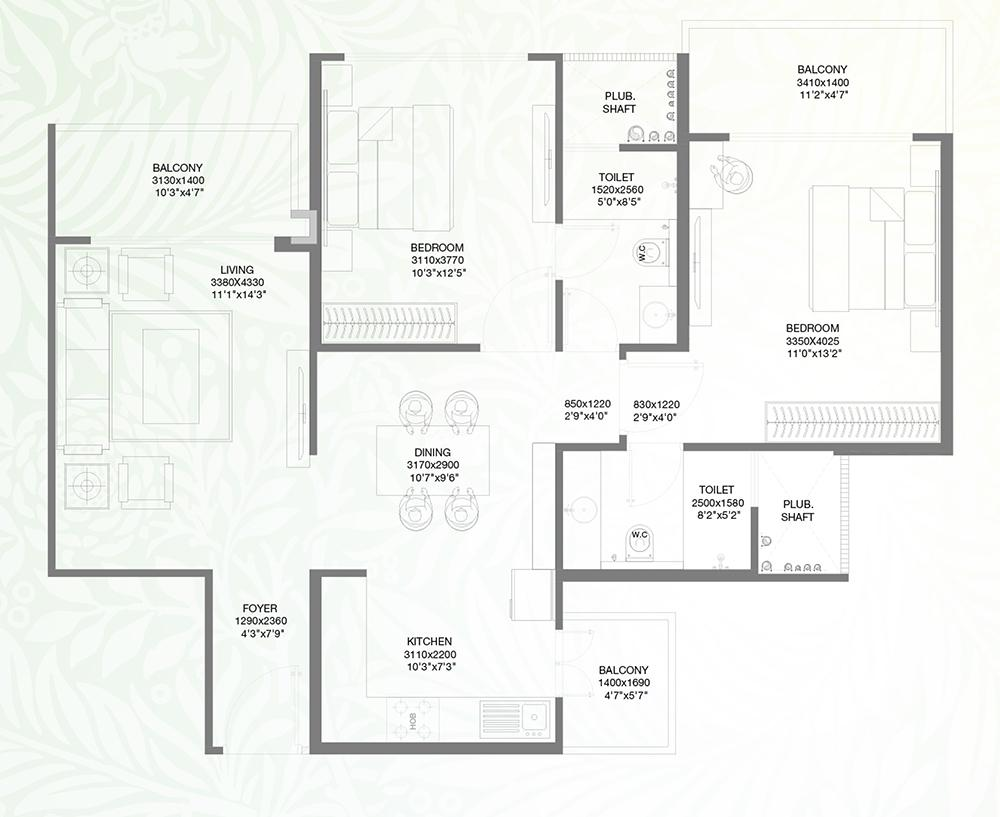 Godrej Palm Retreat 2 Floor Plan: 2 BHK Unit with Built up area of 1264 sq.ft 1