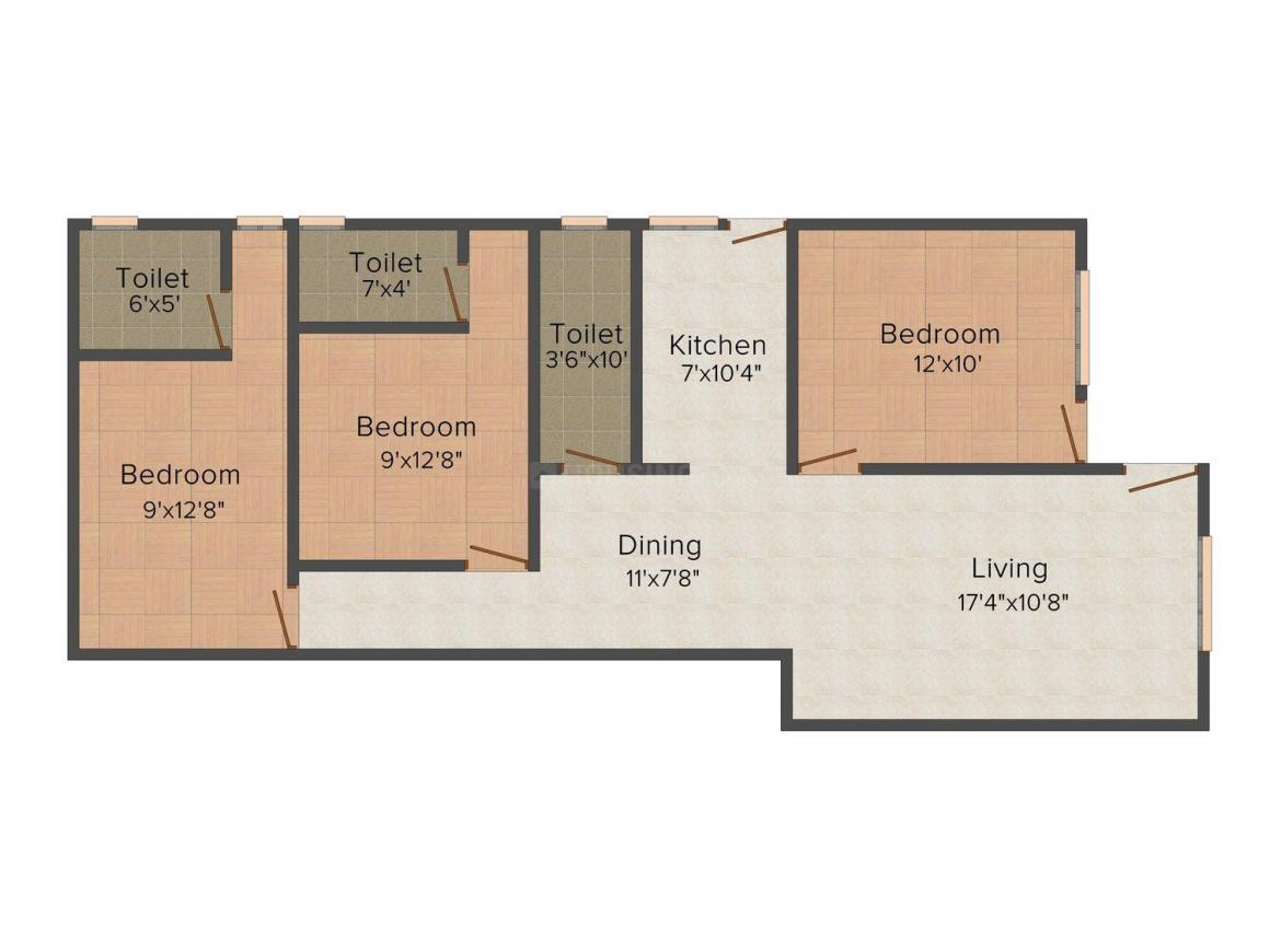 Floor Plan Image of 880 - 1910 Sq.ft 3 BHK Apartment for buy in Radhika Devcon Shanti Planet