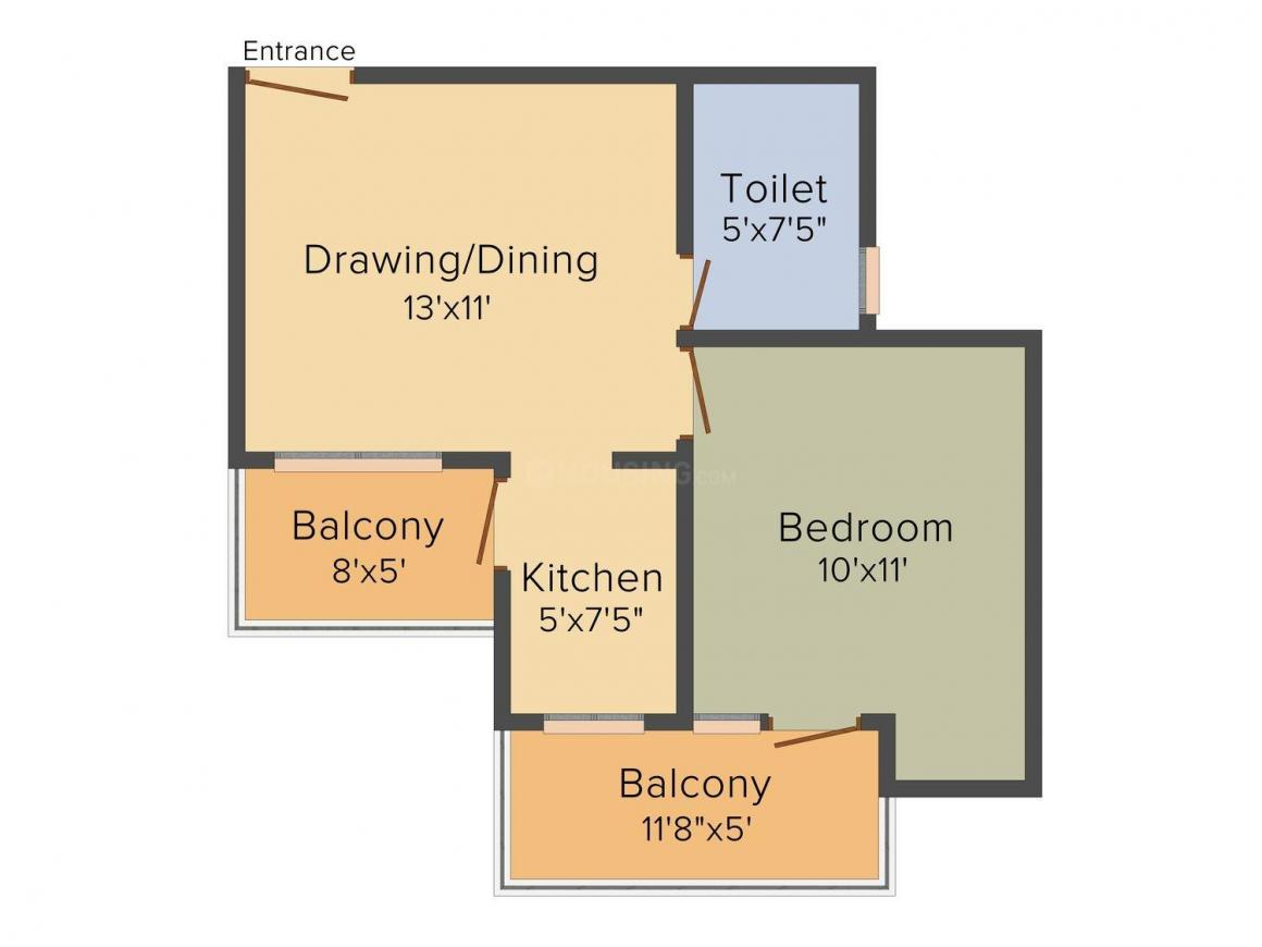 Floor Plan Image of 720 - 2500 Sq.ft 1 BHK Apartment for buy in Ecnon Kings Court Studios