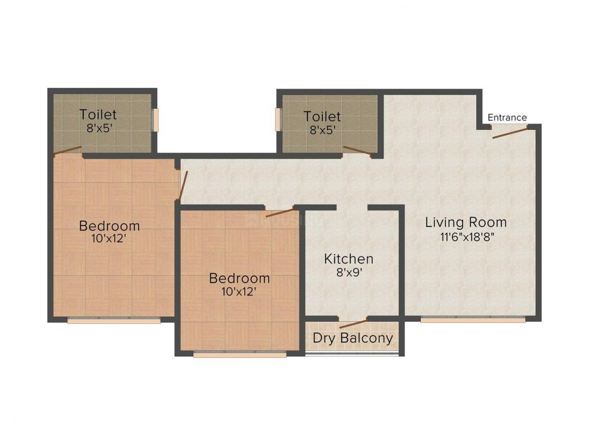 Floor Plan Image of 1150.0 - 1610.0 Sq.ft 2 BHK Apartment for buy in Maverick Residency