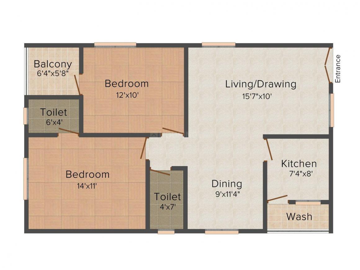 Floor Plan Image of 1000 - 1350 Sq.ft 2 BHK Apartment for buy in Vivida SVR Estates