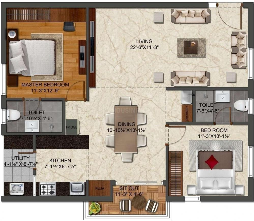 Ira Aspiration Floor Plan: 2 BHK Unit with Built up area of 1295 sq.ft 1