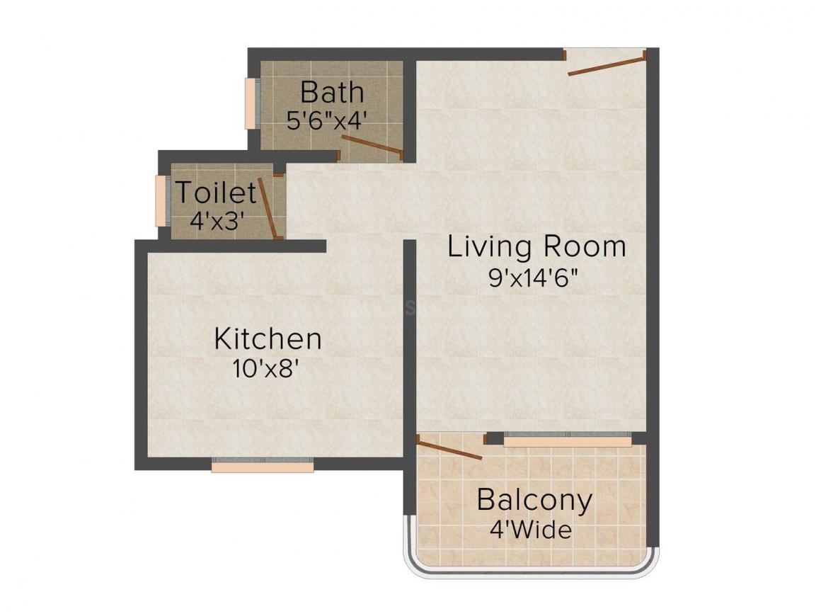 Shree Bhavani Complex Floor Plan: 1 BHK Unit with Built up area of 306 sq.ft 1