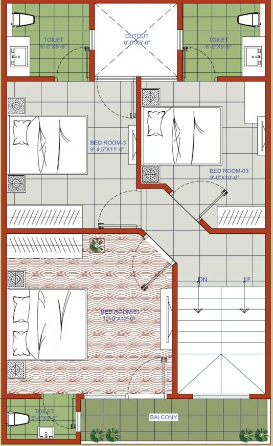 Rays North Villas Floor Plan: 3 BHK Unit with Built up area of 1200 sq.ft 3