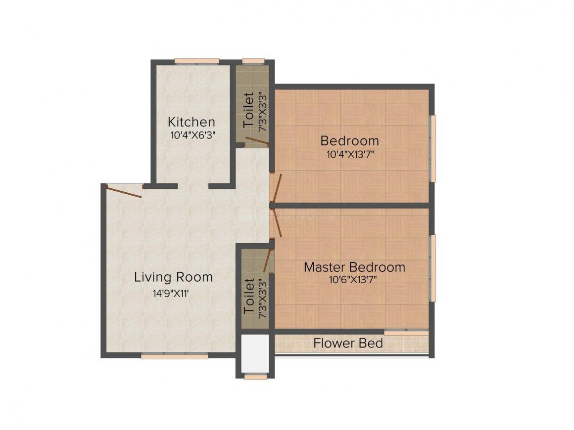 D R Badri Vishal Floor Plan: 2 BHK Unit with Built up area of 860 sq.ft 1