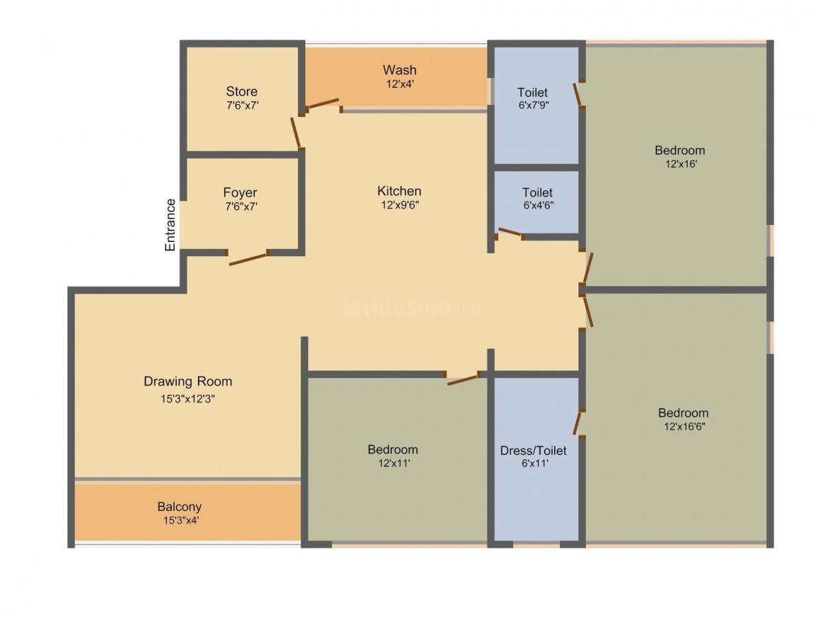 Maan Maan Two Floor Plan: 3 BHK Unit with Built up area of 2358 sq.ft 1