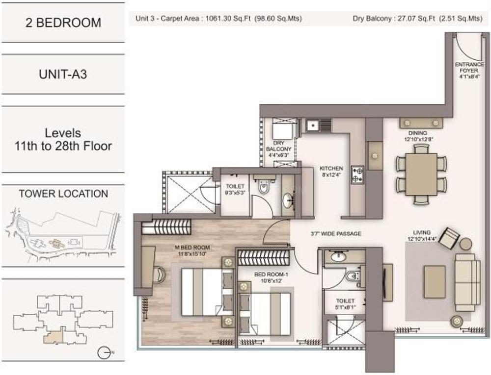 Piramal Aranya Avyan Tower Floor Plan: 2 BHK Unit with Built up area of 1087 sq.ft 1