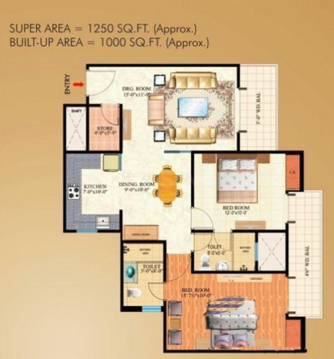 Mahagun Maple Floor Plan: 2 BHK Unit with Built up area of 1250 sq.ft 1