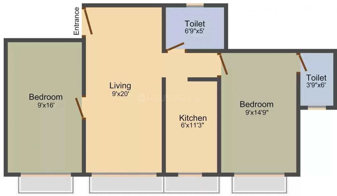 Jhaveri Heritage Floor Plan: 2 BHK Unit with Built up area of 885 sq.ft 1