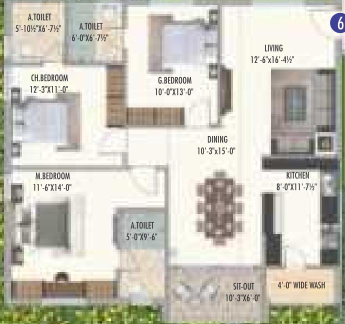 Ananda Bay Hills Floor Plan: 3 BHK Unit with Built up area of 1604 sq.ft 1