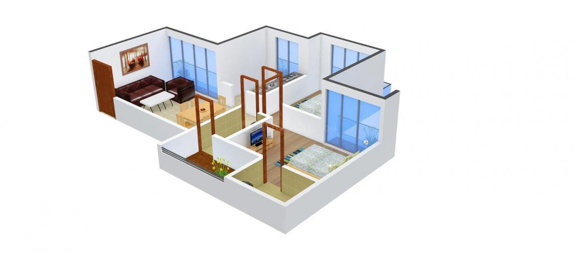 Floor Plan Image of 678 - 1185 Sq.ft 1 BHK Apartment for buy in Space Kailash Uptown