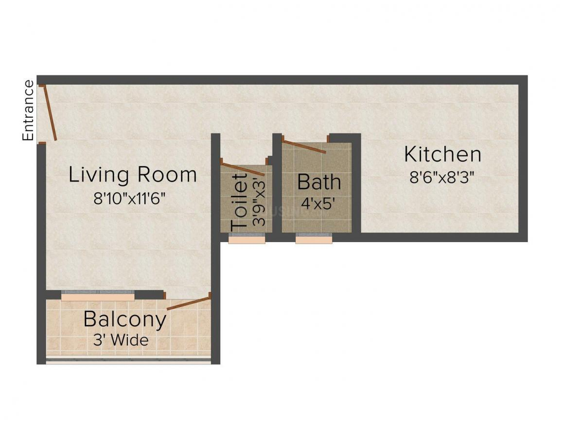 Floor Plan Image of 430.0 - 560.0 Sq.ft 1 RK Apartment for buy in Gama Siddh Nath
