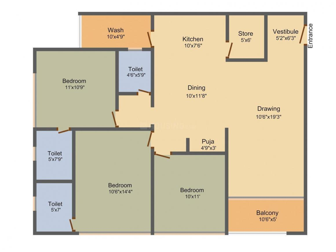 Ashray Heaven Floor Plan: 3 BHK Unit with Built up area of 1926 sq.ft 1