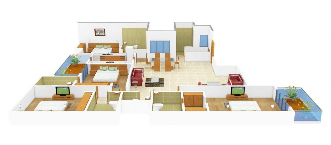 Tannu Homes - 5 Floor Plan: 4 BHK Unit with Built up area of 1575 sq.ft 1