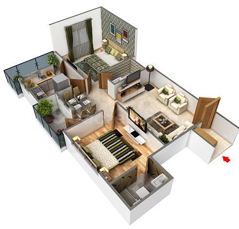 Vishal Height Floor Plan: 2 BHK Unit with Built up area of 950 sq.ft 1