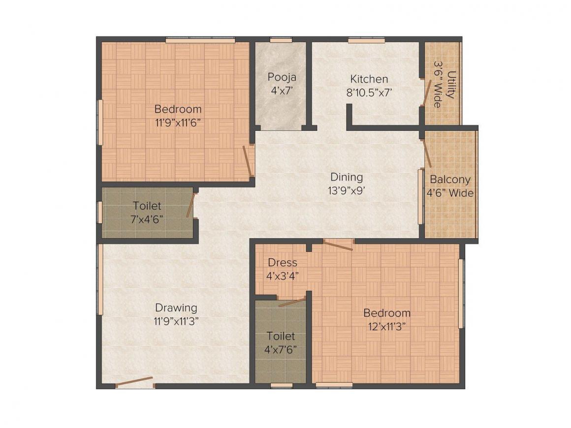 Floor Plan Image of 1062.0 - 1800.0 Sq.ft 2 BHK Apartment for buy in Sai Vihar