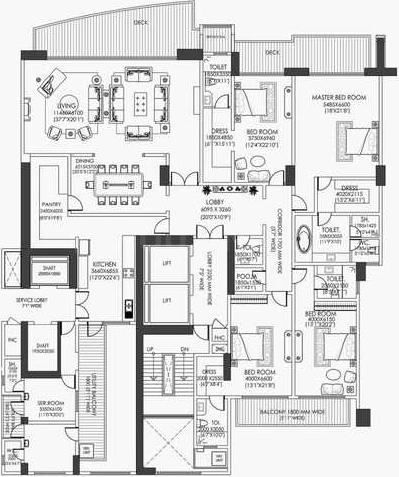 DLF Camellias Floor Plan: 4 BHK Unit with Built up area of 7196 sq.ft 1