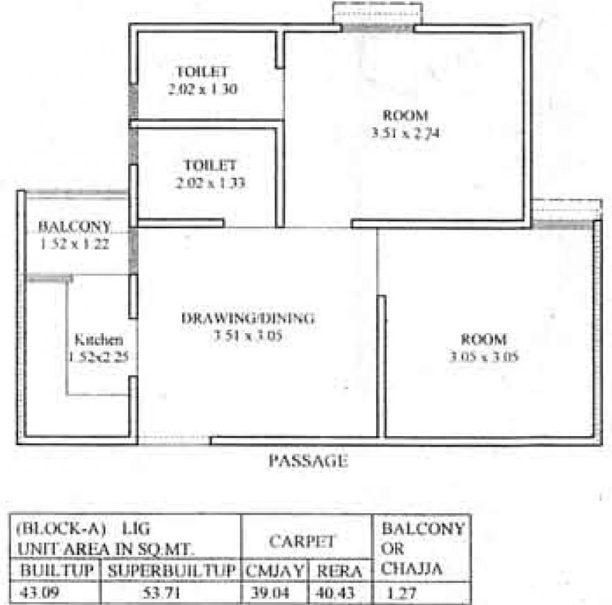 Floor Plan Image of 250.58 - 435.18 Sq.ft 1 BHK Apartment for buy in AKG Pallavi Residency