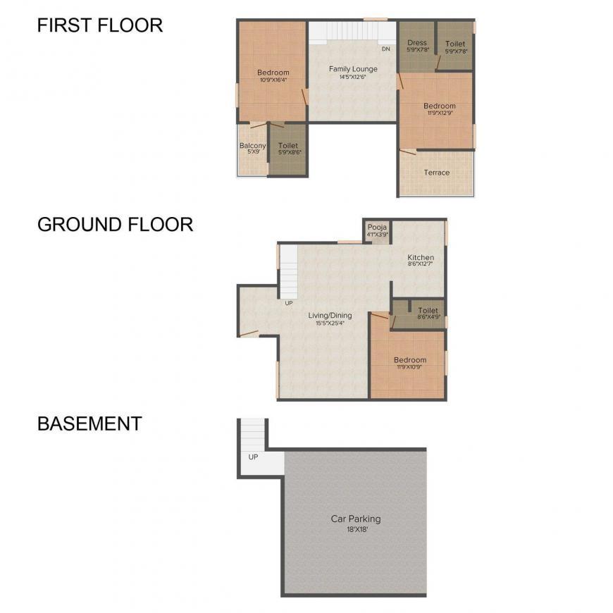 Floor Plan Image of 0 - 2650 Sq.ft 3 BHK Villa for buy in Akshaya Opal