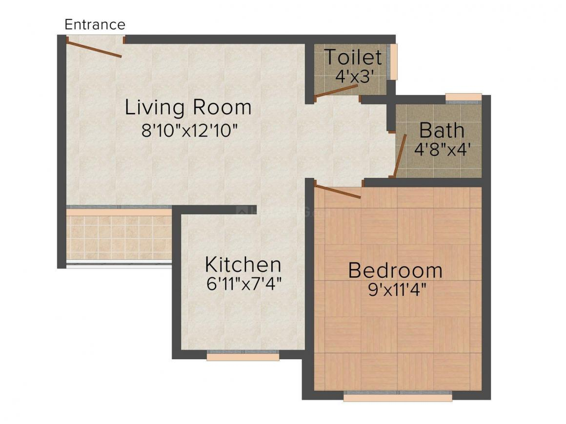 Floor Plan Image of 450.0 - 750.0 Sq.ft 1 RK Apartment for buy in Gargee Paradise