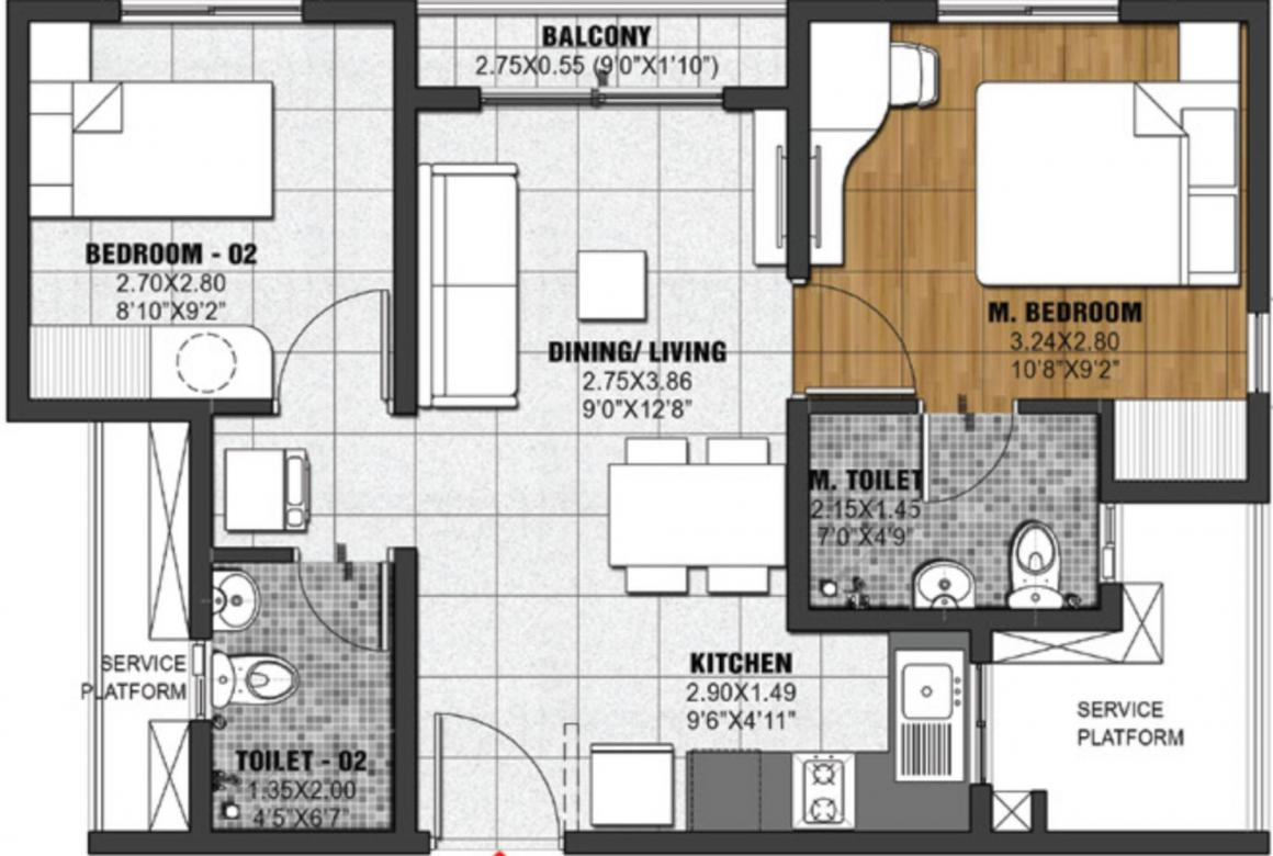Brigade Krypton Floor Plan: 2 BHK Unit with Built up area of 466 sq.ft 1