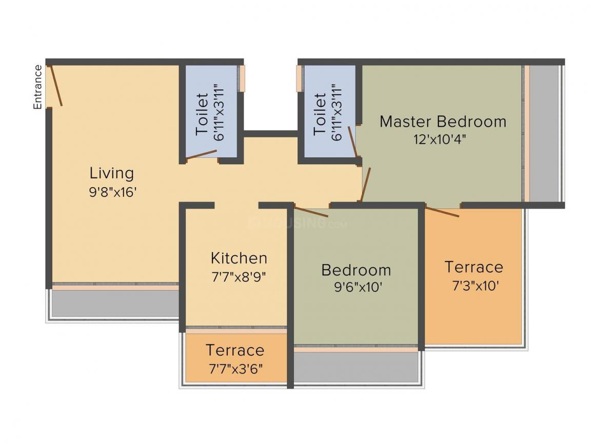 Floor Plan Image of 665.0 - 980.0 Sq.ft 1 BHK Apartment for buy in Prasad Sai Radiance