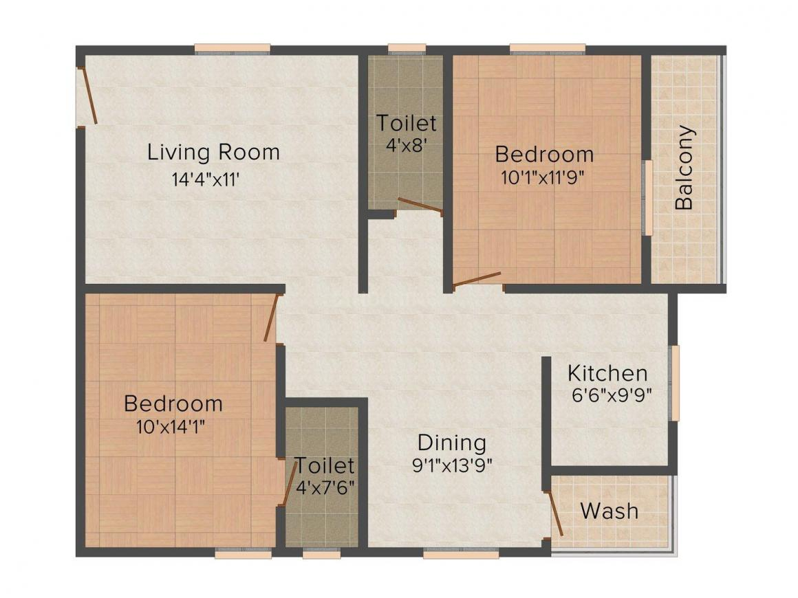 Floor Plan Image of 902.0 - 906.0 Sq.ft 2 BHK Apartment for buy in Hallmark Ruby
