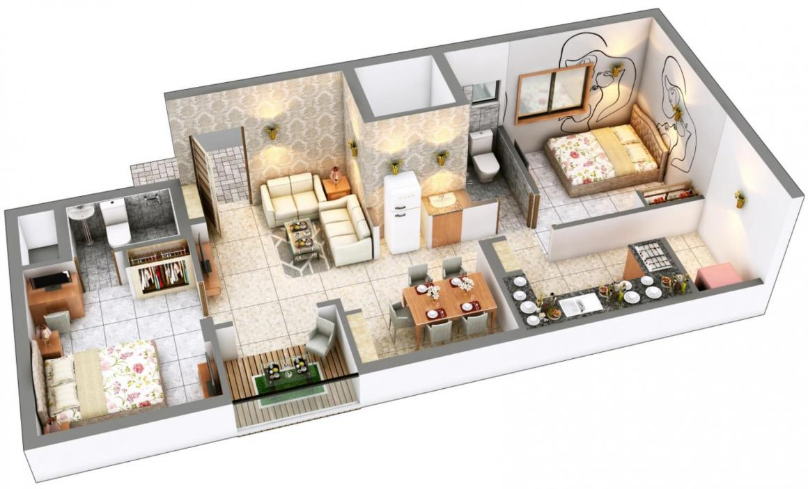 DAC Centum Floor Plan: 2 BHK Unit with Built up area of 1004 sq.ft 1